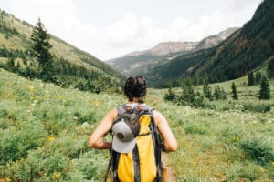 Young woman hiking in Butte