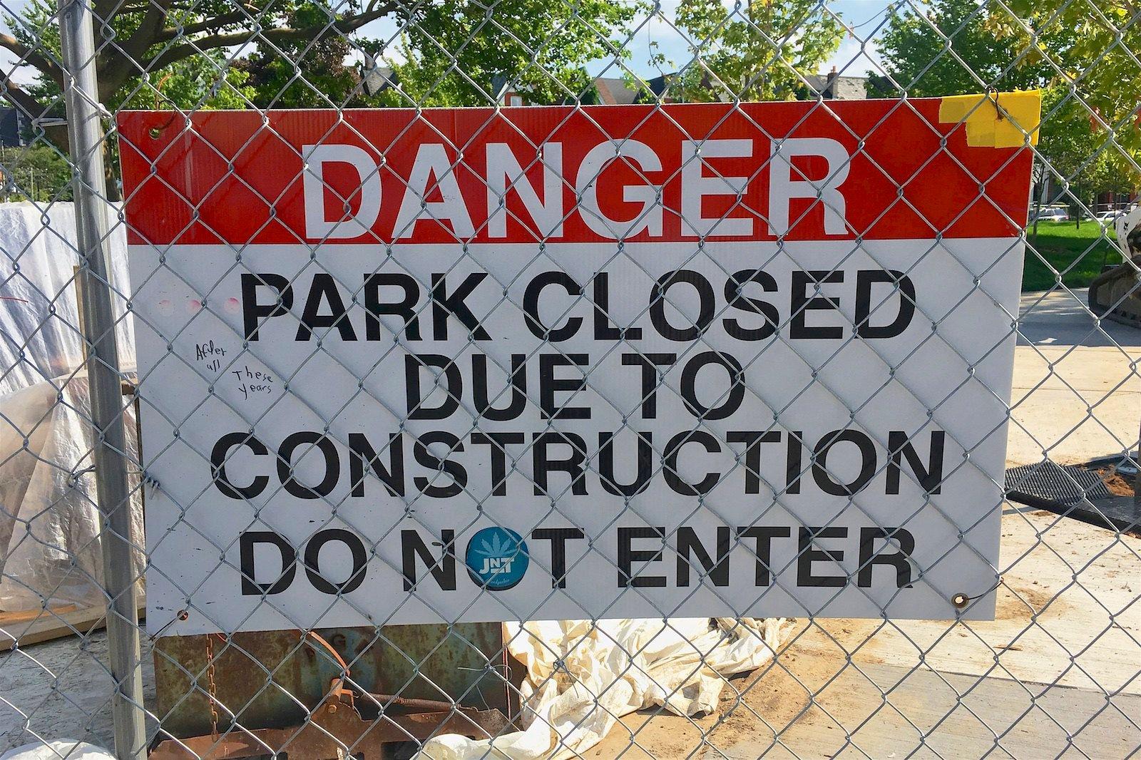 danger construction state park
