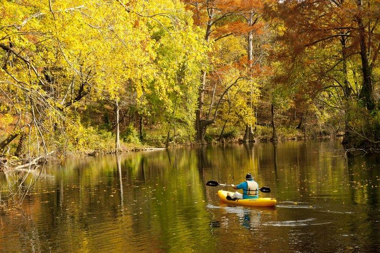 fall foliage paddleboat